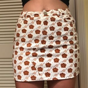 Forever 21 White and Brown Floral Mini Skirt